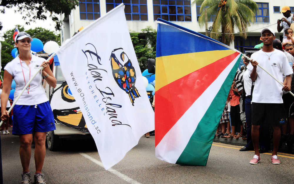 Seychelles Carnival with a float